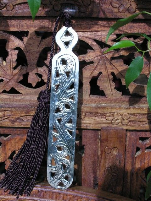 Moroccan metal book marks with brown silk tassel. http://www.maroque.co.uk/showitem.aspx?id=ENT06316&p=01570&n=all