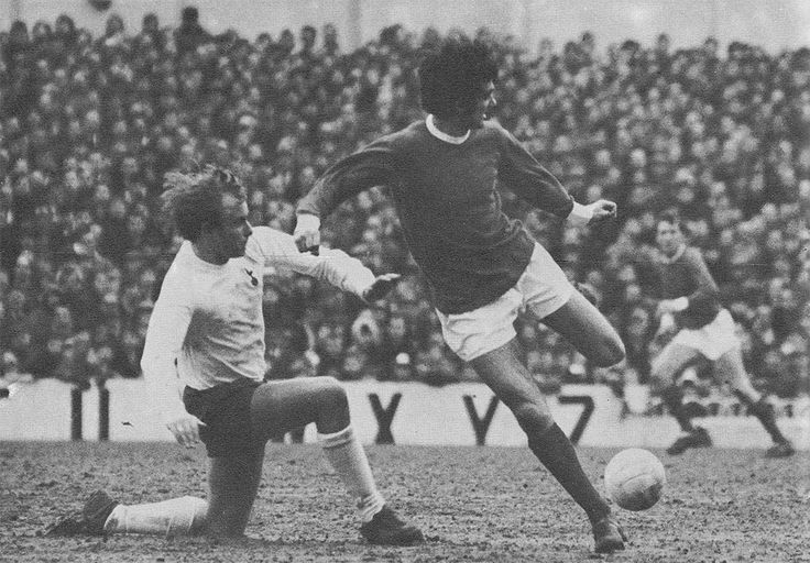 3rd February 1968. Manchester United winger George Best commits Tottenham Hotspur defender Phil Beal with a cheeky back flick to a team mate, at White Hart Lane.