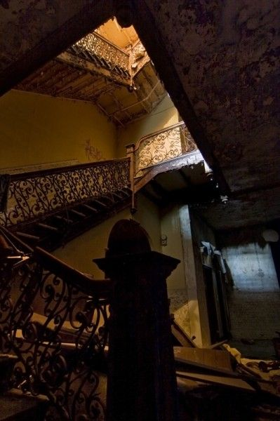 Grand staircase at the Sterling Hotel in Wilkes-Berre, PA