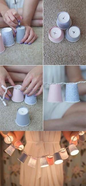 Hoe leuk en hoe simpel is dit? Men neme kerstverlichting en bekertjes en Voila  #trouwen #bruiloft #diy #bruid