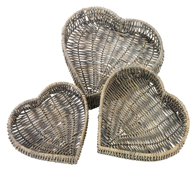 Heart Shaped Rattan Baskets