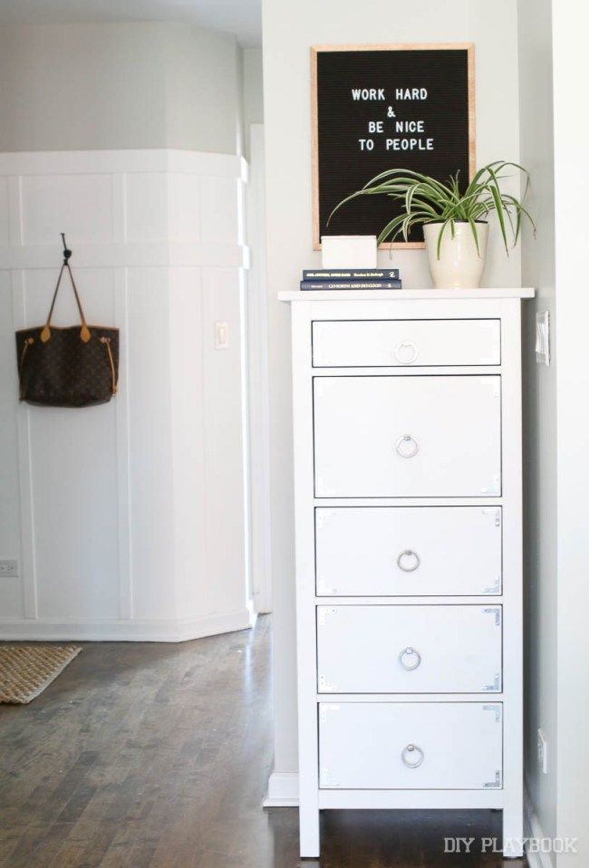 Maybe a tall, thin dresser near the garage entrance || IKEA Hemnes 5 drawer dresser with new pulls and brackets