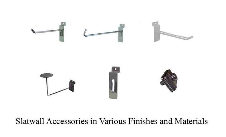 Slatwall Accessories in Various Finishes and Materials - http://idealdisplays.ca/04_slatwall_accessories.html