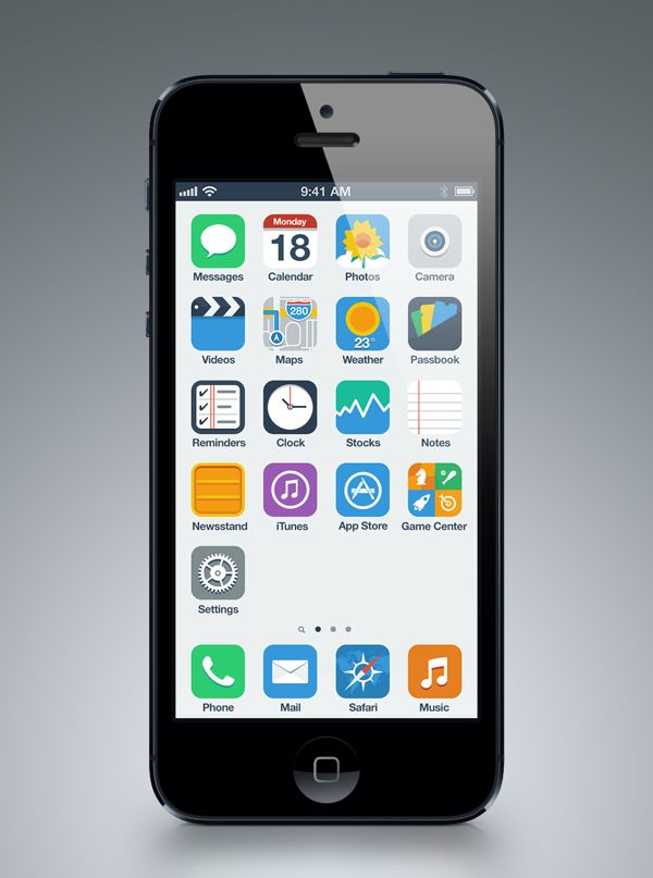 iPhone Flat UI Concept by Anton Kovalev, via Behance