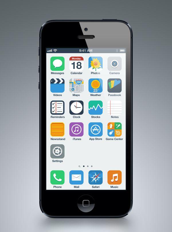iPhone Flat UI Concept by Anton Kovalev, via Behance