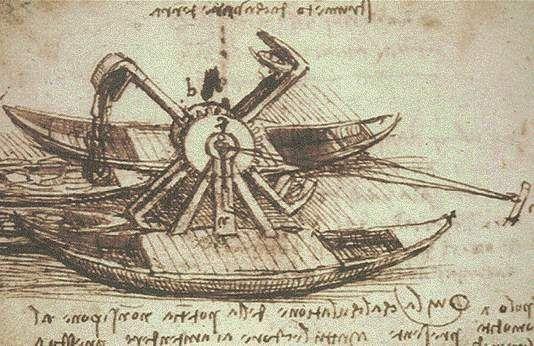 Leonardo Da Vinci LAGOON DREDGE - Manuscript E, folio 75 v.    Strumento per cavare terra, Draga lagunare, studio. http://milanoarte.net/it/visite-guidate-a-milano/la-pinacoteca-ambrosiana-ed-il-codice-atlantico