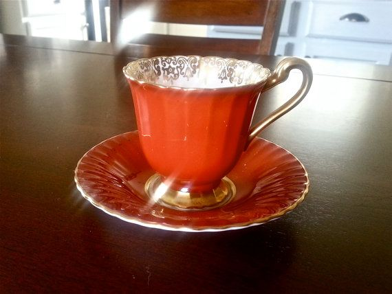 Antique Paragon orange demitasse small tea cup and saucer set on Etsy, $16.25