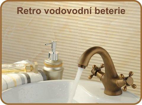 Retro vodovodní baterie, rustikální mosazné baterie, antikové koupelnové baterie, kohoutek do koupelny antik, mosazné koupelnové příslušenství, mosazné sprchy v retro designu