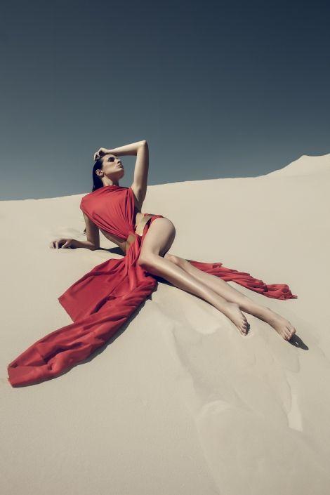 Wilderness editorial, red, fashion, dresses, topmodel, model