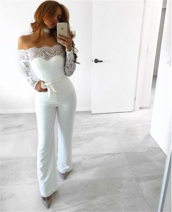 fe12d55ee58c Sexy Strapless Hollow Out Women Summer Jumpsuit Elegant Long Sleeve Solid  Female Lace Off Shoulder Patchwork Rompers Overalls