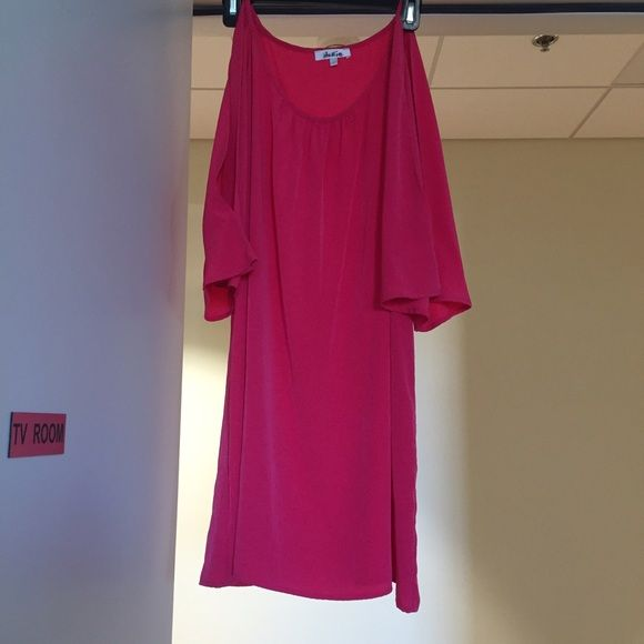 GLAM hot pink dress with cut outs in sleeves Super cute casual dress. Very comfortable. Only worn once GLAM Dresses Long Sleeve