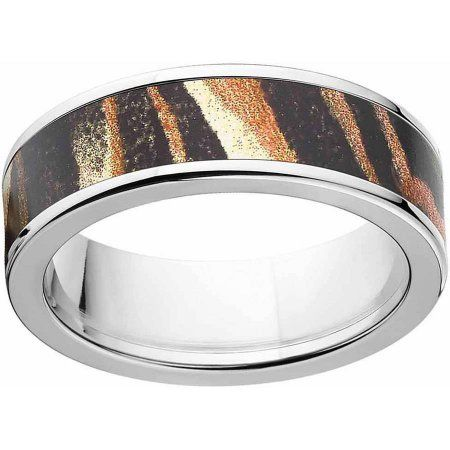 Mossy Oak Shadow Grass Men's Camo Stainless Steel Ring with Polished Edges and Deluxe Comfort Fit, Size: 17