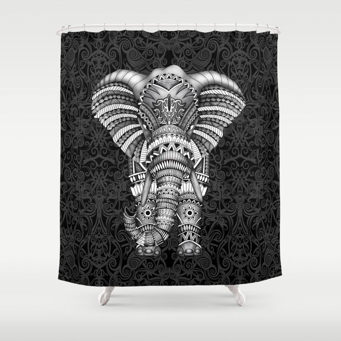Elephant With Aztec Pattern Shower Curtain Pointsalestore Society6Threesecond Showercurtain Drawing Digital