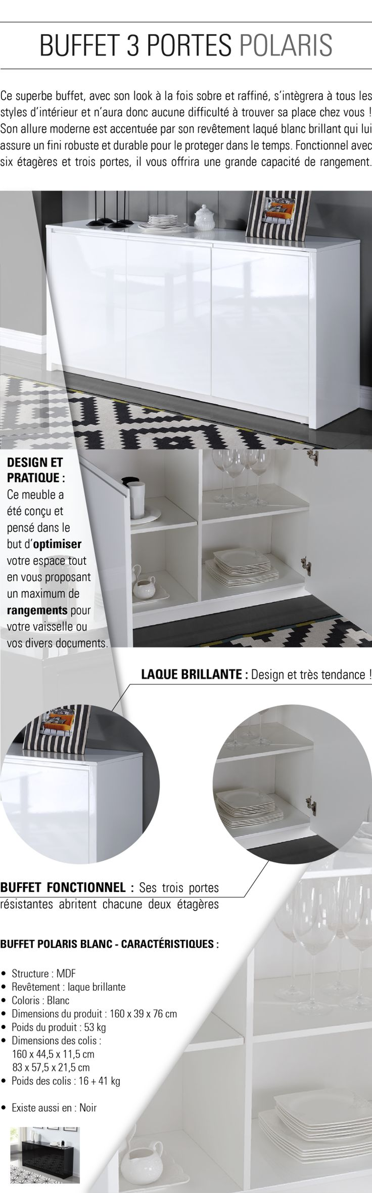 3 portes - 6 compartiments - Panneaux de particules - 160x39x76 cm - Laqué blanc brillant