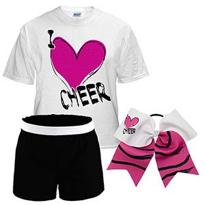 I Heart Cheer Campwear Package with Matching Bow by Cheerleading Company
