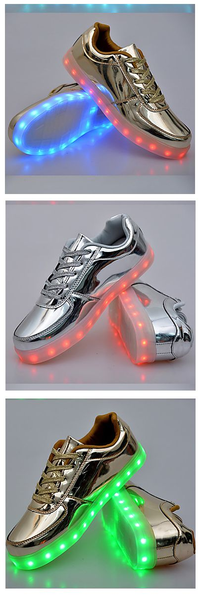 Fun unisex holographic silver/ gold LED sneakers at just $32.39. Want them? click on the picture to choose your size.