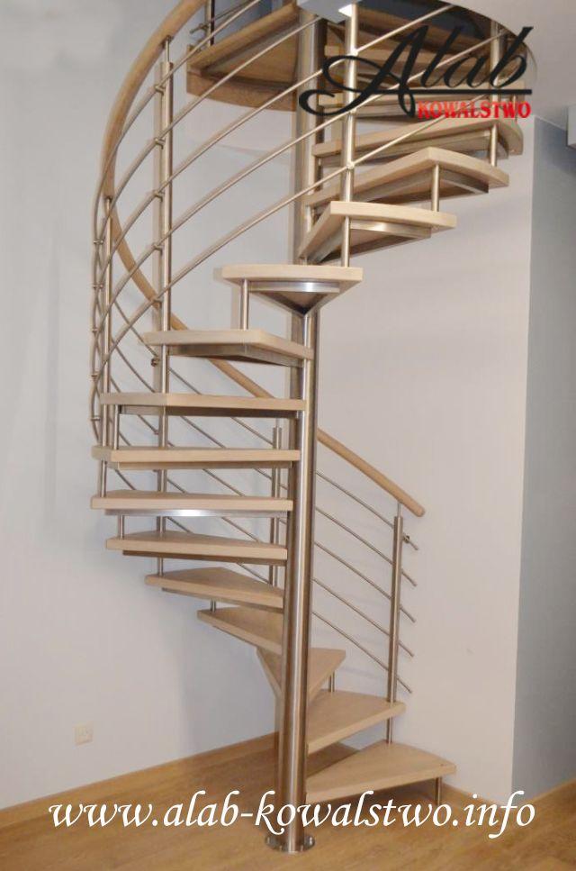 Schody spiralne/ stopnie drewniane/ balustrada ze stali nierdzewnej/nierdzewna