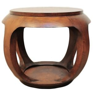 Vintage-Solid-Wood-Oriental-Chinese-Pedestal-Ocassional-Drum-Table-James-Mont-Er