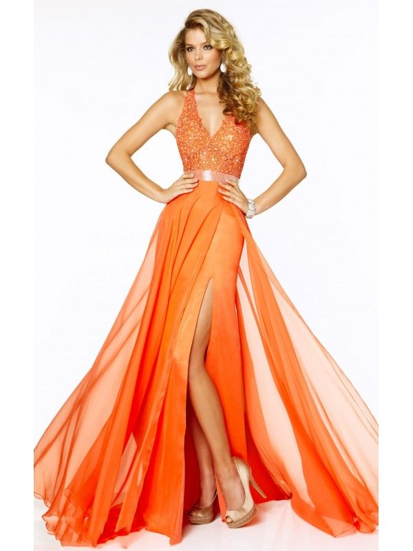 A LINE V NECK SLEEVELESS HIGH SLIT SASHES LONG CHIFFON PROM DRESS WITH APPLIQUES