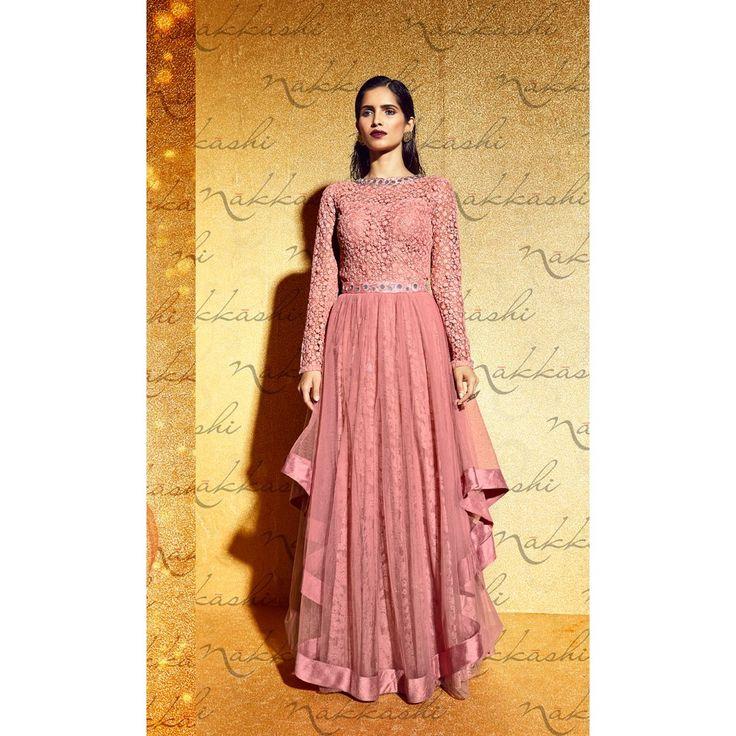 Pink Net Designer #Anarkali Suits With Dupatta- $75.11