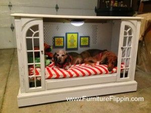 This adorable doggy room was created from an old fashioned TV console.  Found: http://www.howdoesshe.com/25-furniture-hacks-that-will-make-you-think-why-didnt-i-think-of-that/:
