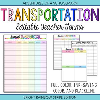 Editable Student Transportation Forms - Build a Teacher Binder