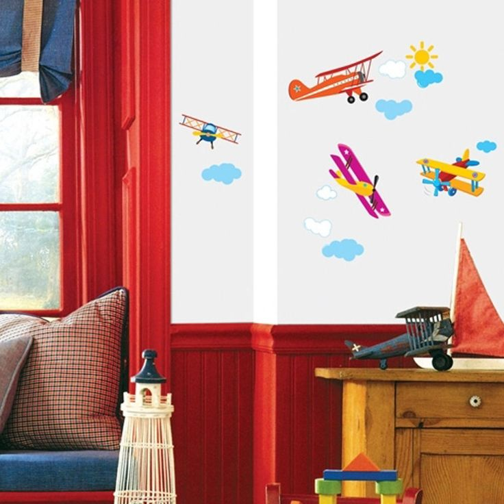 Get Airplanes on walls of your child room. Check Reusable, Easy-to-apply, Waterproof WallStickers Now!