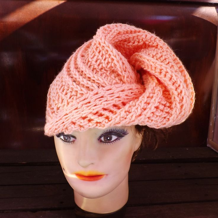 Light Peach Crochet Hat Womens Hat Fashion Turban Hat Light Peach Hat Crochet Winter Hat DEITRA Turban Hat 45.00 USD by #strawberrycouture on #Etsy - MUST SEE!