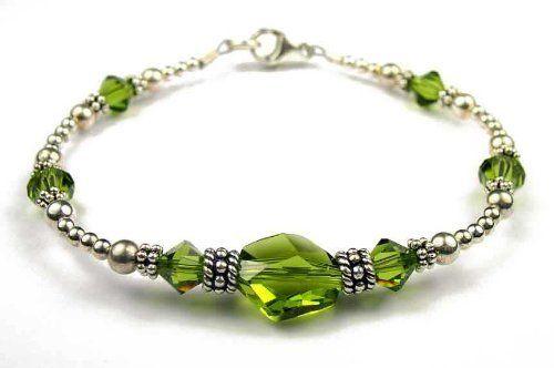 Dk. August Peridot (Olivine) - August Birthstone Sterling Silver Swarovski Crystal Handmade Beaded Bracelets - LARGE 8 In. Damali. $59.95