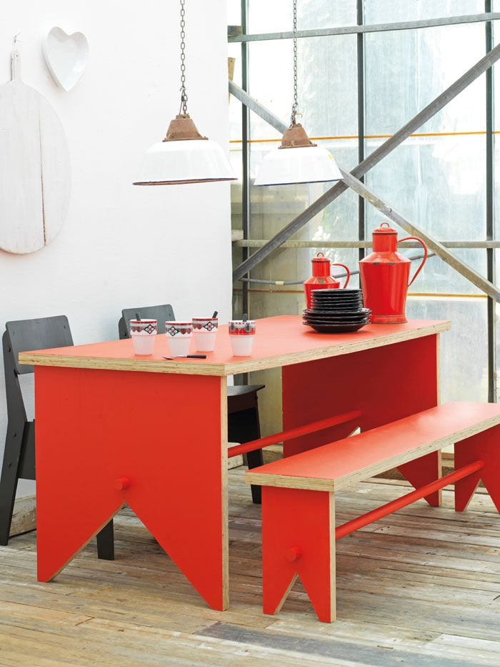 Red picnic dining table