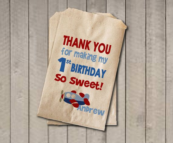Boy Birthday Favor Bags, Airplane Candy Bags, First Birthday Favor, Birthday Candy Bags, Birthday Candy Buffet, Red