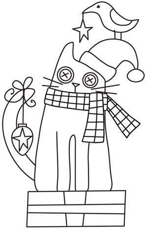 cute pattern for needle punch- I'm thinking of hanging a real bell on the tail, using real buttons for eyes, replacing star with mistletoe and using a pom pom on the tip of the hat.