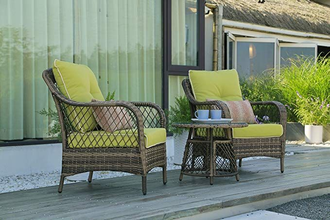 Amazon Com N V Patio Outdoor Furniture Sets 3 Pieces Wicker Chairs With Glass Coffee Table Pillo In 2020 Outdoor Furniture Sets Outdoor Wicker Chairs Outdoor Chairs