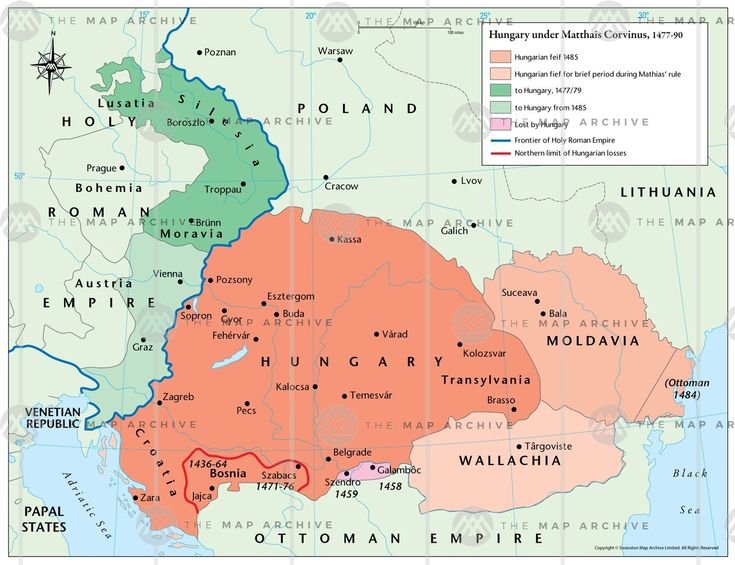Hungary under Matthew Corvinus 1477–90 map thumbnail