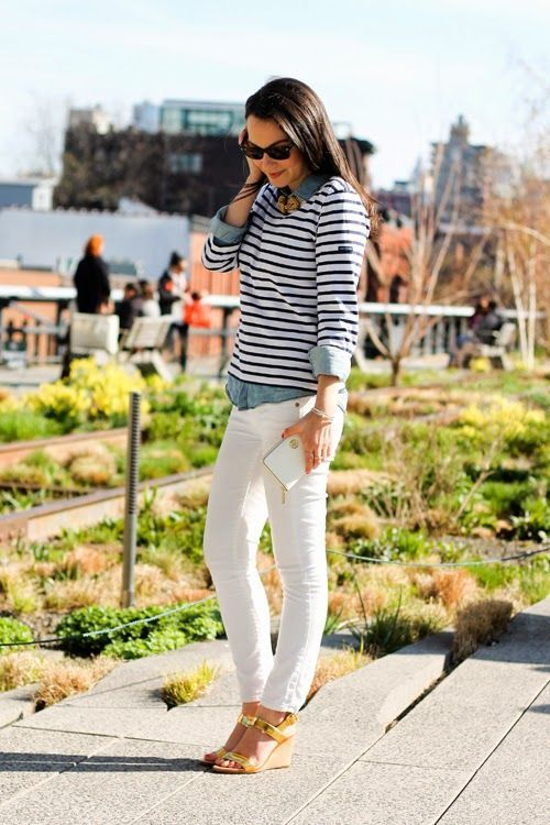 Shop this look on Lookastic:  http://lookastic.com/women/looks/denim-shirt-long-sleeve-t-shirt-skinny-jeans-wedge-sandals-sunglasses-bracelet-necklace/10150  — Black Sunglasses  — White and Navy Horizontal Striped Long Sleeve T-shirt  — Blue Denim Shirt  — Gold Bracelet  — Gold Necklace  — White Skinny Jeans  — Gold Leather Wedge Sandals