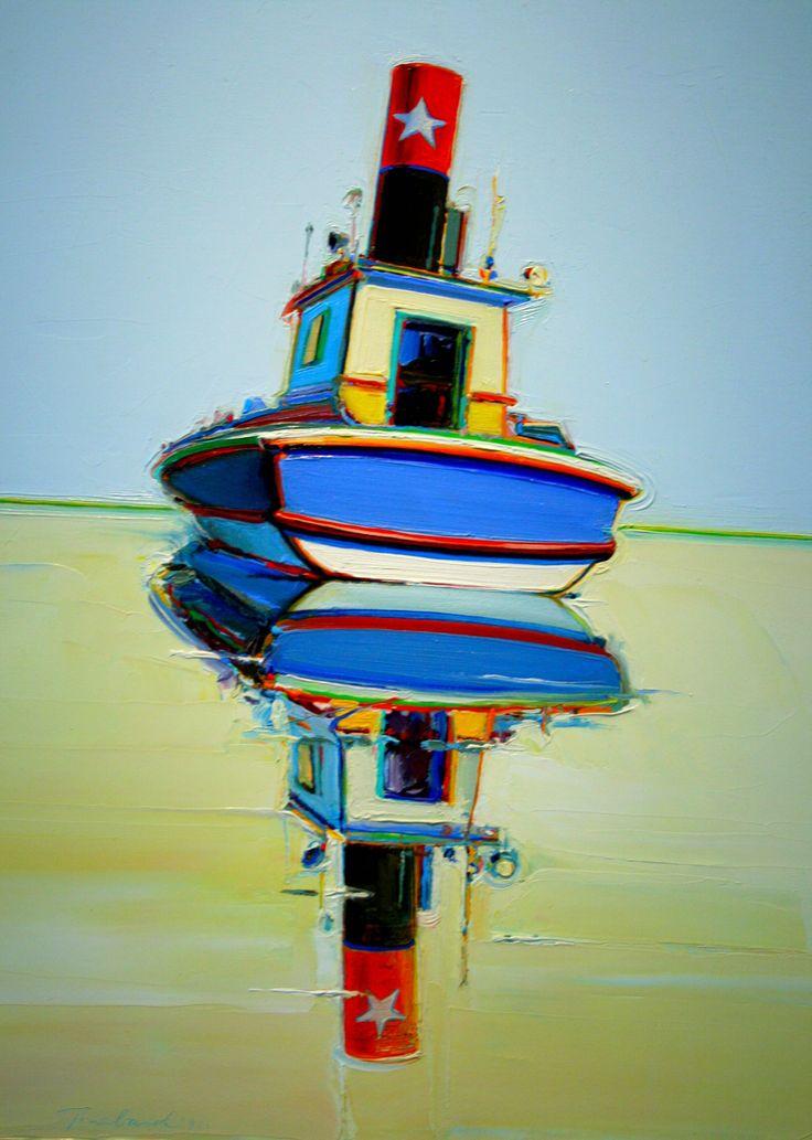 """Starboat (Tugboat and Riverboat),"" Wayne Thiebaud (American, b. 1920), Oil, 1966"