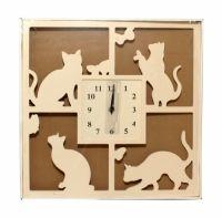 Sil Silhouette Cream Cat Clock 40cm  A square clock with a silhouette cat design. Approx 40 x 40cm.