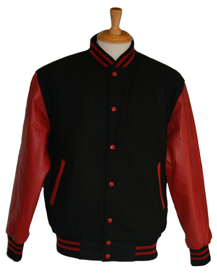 Black wool with Red leather sleeves - in stock and available for immediate delivery through our Facebook store  https://www.facebook.com/TeamVarsityJackets