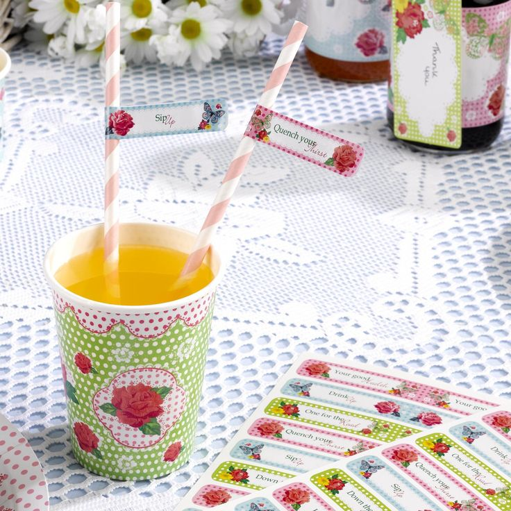 Vintage straws with straw flags. Very en trend for vintage celebrations and weddings. www.fuschiadesigns.co.uk