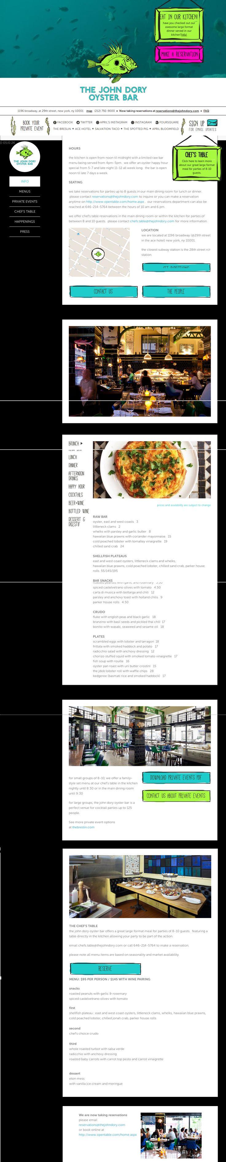 the John Dory - food - #bottom-menu #onepage #map #illustration // #green #pink