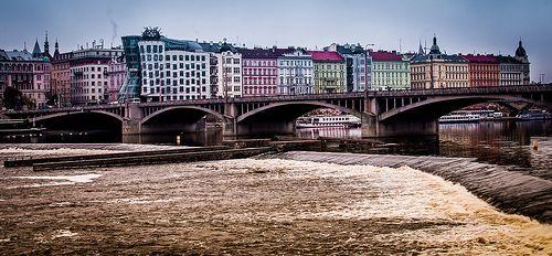 Jiraskuv bridge over Vltava river