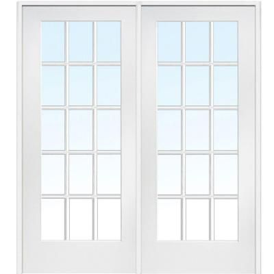 Milliken Millwork 72 in. x 80 in. Classic Clear Glass 15-Lite Composite Double Prehung Interior French Door-Z009309R - The Home Depot
