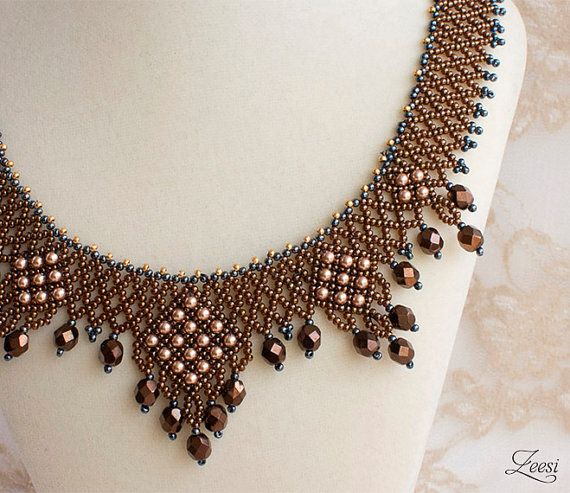 Bead Weaving Necklace, Copper, Gunmetal Grey, Rose Gold Pearl - 524