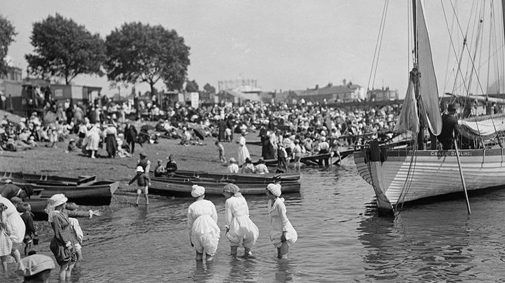 Before the Bikini: Rare Vintage Beach Photos - weather.com. August 1919: Bathing belles paddling at Southend-on-Sea, Essex. (Topical Press Agency/Getty Images)