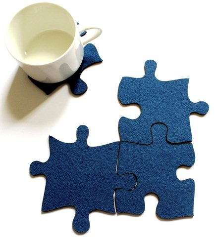 With these Puzzling pieces which can be used either individually as coasters, or joined to make trivets, setting the table will never be a chore! By Idealiza