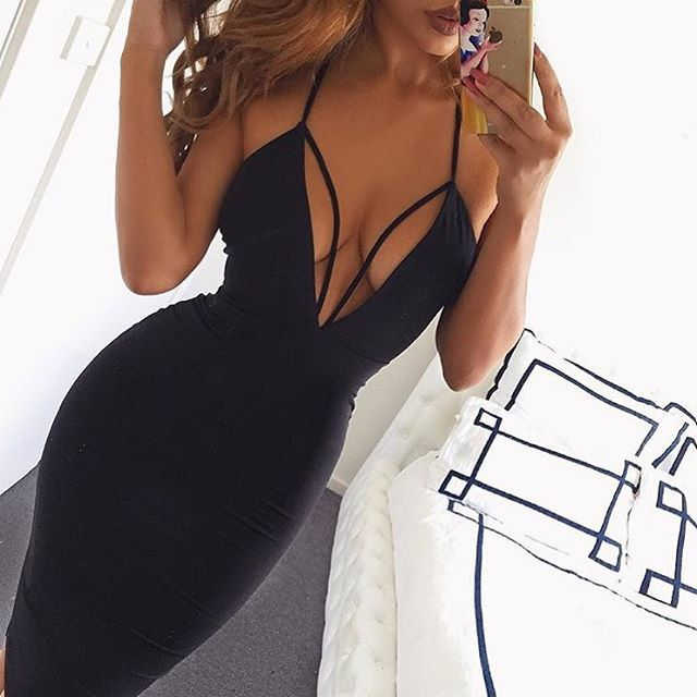 Sexy Deep V-Neck Strap Boydcon Dress