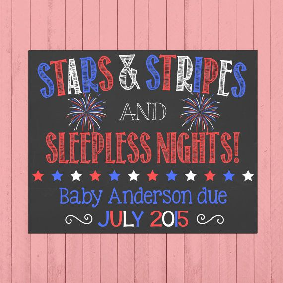 Fourth of July Pregnancy Announcement Chalkboard Poster 4th of July Pregnancy Reveal Stars and Stripes July 4th Announcement by PersonalizedChalk on Etsy
