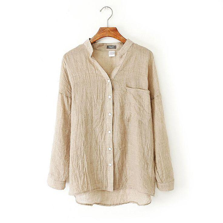 Women Clothes Womens Tops Loose Shirts Sun protection Blusas Femininas Women Linen Blouse White Shirt Plus Size Roupas