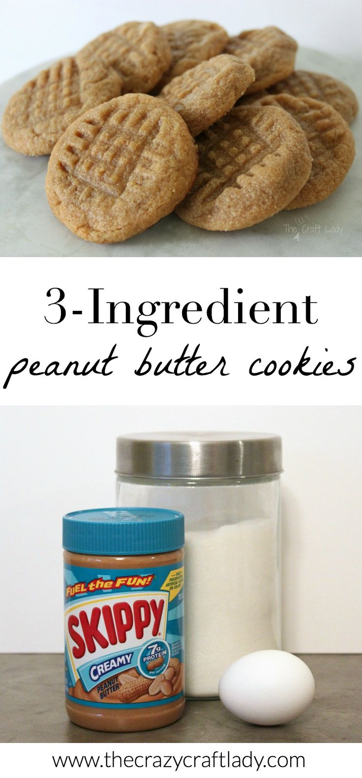3-ingredient peanut butter cookies (peanut butter, sugar, and egg).  These cookies take just minutes to whip up and are perfectly soft and delicious!
