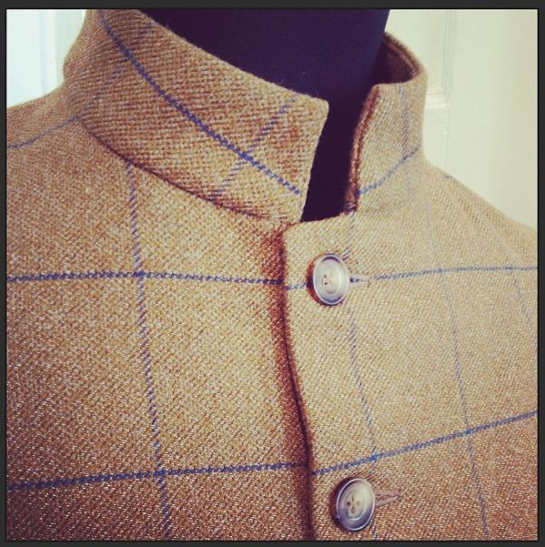 Cad & The Dandy, tweed shooting jacket with nehru collar detail